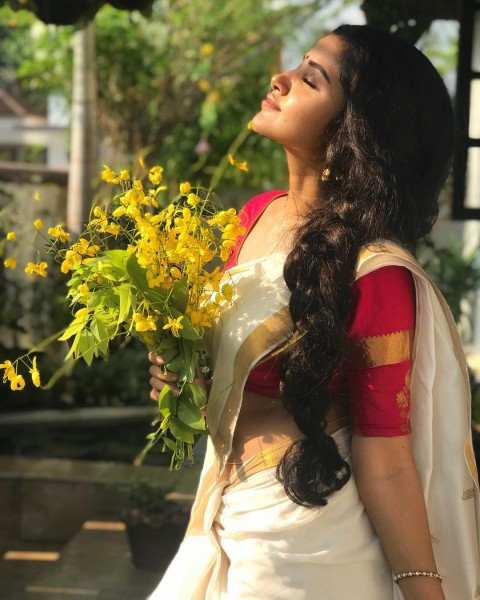 Anupama Parameswaran Hot In Saree Wallpaper Pic