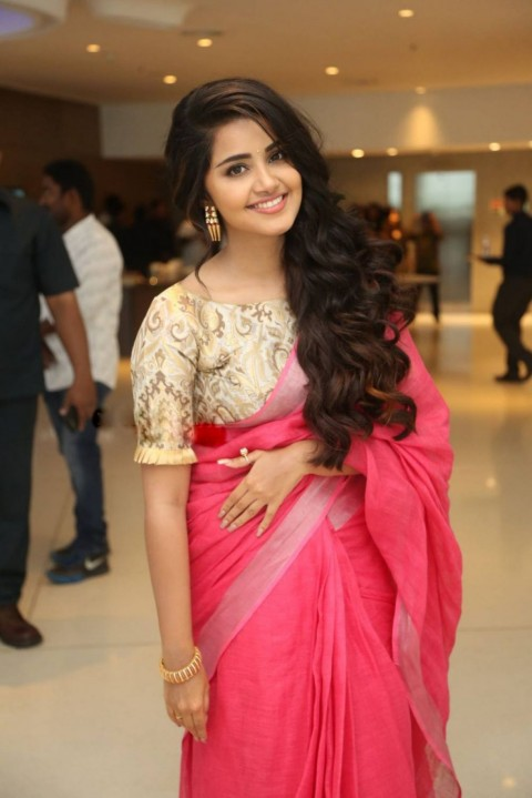 Anupama Parameswaran In Red Saree Wallpaper Pic