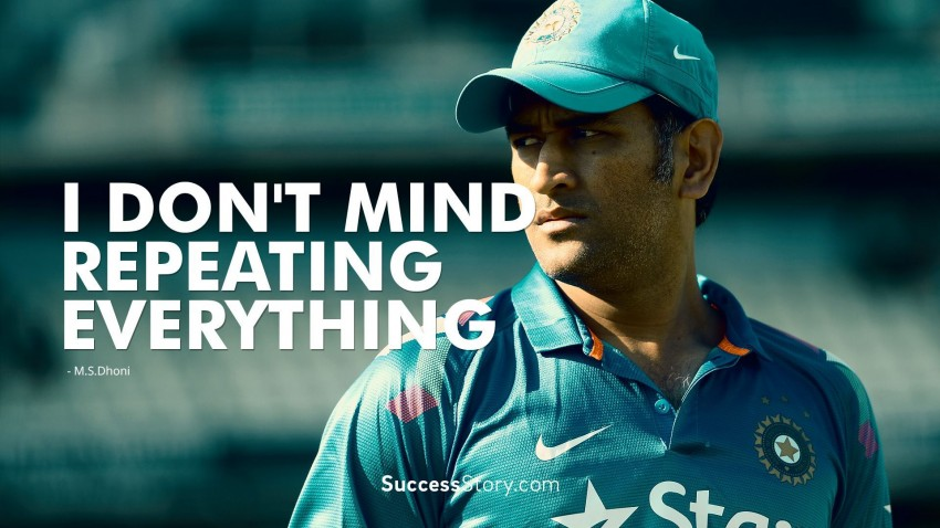 MS Dhoni With Quotes Photos Images